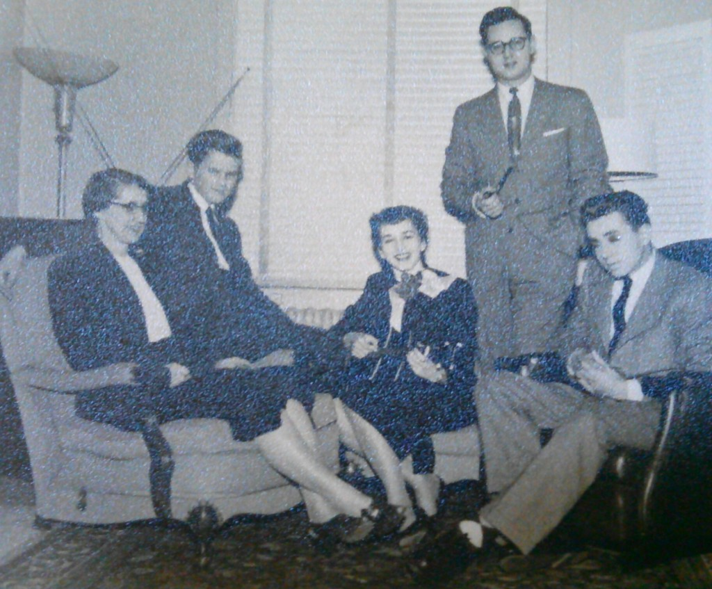 From 1954. From left to right, Clara Cassidy (aka Deedee), John Cassidy, Isabel Cassidy (playing ukulele), Lew Cassidy (standing), and Hugh Cassidy.