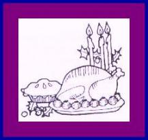 "Eva drew this festive holiday dinner for one of her grandmother's books, Living the Topmost Years by Clara Cassidy.  ""Grandma Deedee"" died in 1999 at the age of 97."